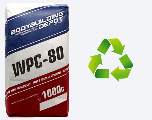 Bild zeigt WPC 80 Tüte mit Umweltsymbol